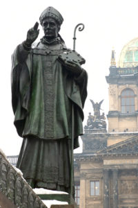 Part of Wenceslas Monument on the Wenceslas Square in Prague. National Museum in the background.