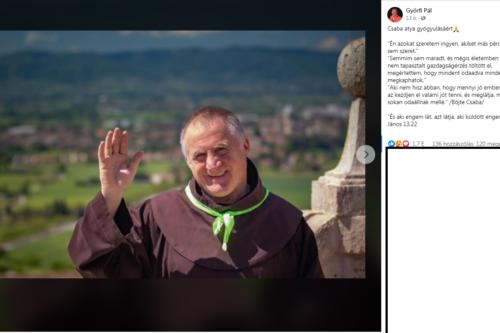 Győrfi Pál megható üzenettel kívánt jobbulást Böjte Csaba testvérnek